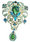 Sindary Classic 12cm Teardrop Flower Brooch Pin Pendant Green Austrian Crystal UKB4042C11