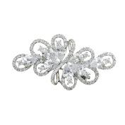QUKE Silver Tone Clear Austrian White Colour Ribbon Luxury CZ Crystal Tear Drop Cluster Brooch Pin
