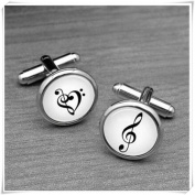 Handmade Cufflinks,Music Note Cufflinks,