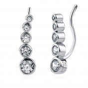 BERRICLE Sterling Silver Cubic Zirconia CZ Graduated Bubble Fashion Ear Crawlers