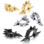 Aroncent 3 Pairs Stainless Steel Mens Womens Stud Earring Piercing Spike Rivet Cone Taper Ear Stud Black Gold Silver