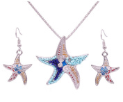 Fengteng Naughty Starfish Set Bohemian Beach Style Accessories Necklace Earrings Set
