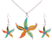 Fengteng Fashion Drop Oil Starfish Set National Customs and Colour Ornaments Necklace Earrings Set
