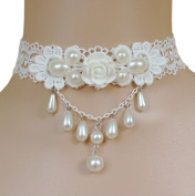 DELEY White Lace Flower Faux Pearl Beads Pendant Girl Gothic Lolita Wedding Bridal Choker Necklace