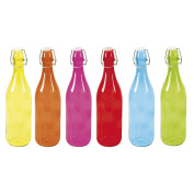 Equinox 506522 Lemonade Bottle 1 L Glass Blue/Yellow/Orange/Pink, 8.5 x 8.5 x 32 cm