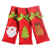 Smile YKK 3pcs Christmas Wine Bottle Decor Gift Bag Cover Holder Red