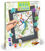 Schipper 609480744 Relax and Colour Peacock Paint By Numbers Board