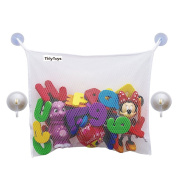 SZTARA Bath Toy Organiser with 2 Extra Hooked Suction Cups Bathroom Storage Holder Net Mesh Bag for Baby Kids Toys