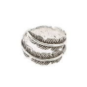 VANKER Unisex Adjustable Bird Feather Wrap Ring Gift Antique 925 Sterling Silver Free size
