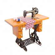 Vintage Miniature Sewing Machine Wooden Dollhouse Furniture For Dollhouse Decoration Retro Children Toys Accessories