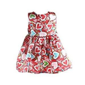 Veroda Fashion Sleeveless Party Dress w/ Heart Printed for 46cm American Girl Our Generation Doll