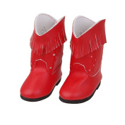 Veroda Handmade Red PU Leather Tassel Boots Shoes Fit 46cm American Girl Dolls Toy Gifts