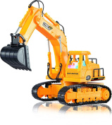 Remote Control Excavator - 7 Channel Full Function RC Excavator Toy With Lights & Sounds By ThinkGizmos
