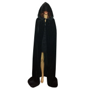 Extra Long Halloween Cape for Adults Black Hooded Cloak Coat Long Wicca Robe with Floor Length Devil Cosplay Costume Party Dress up