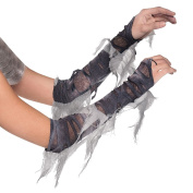 Adults Arm Warmers Zombie Mummy Cleopatra Egyptian Costume Gloves Grey Torn Ghost Bride Halloween Fancy Dress