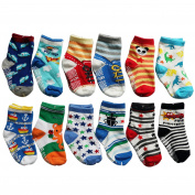 OKPOW 12 Pairs Baby Infants Toddler Socks Bright Random Coloured Socks Anti-skid Cotton Socks Gift