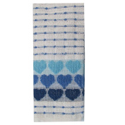 Tea Towels Pack Of 3 Kitchen Dish Cloths Set Terry Cotton Large Cleaning Heart Print Towels , Blue Heart