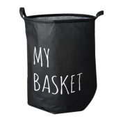 Hoomall Foldable Laundry Hamper Large Cylindric Waterproof Closet Storage Bin Bag Storage Basket Bucket 43.5x49cm Black