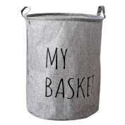 Hoomall Foldable Laundry Hamper Large Cylindric Waterproof Closet Storage Bin Bag Storage Basket Bucket 43.5x49cm Grey