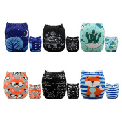 Alva Baby New Positioning and Printed Design Reuseable Washable Pocket Cloth Nappy 6 Nappies + 12 Inserts 6DM37-EU