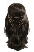 Womens Ladies Gold Tone Metal 5 Strand Diamante Hair Chain / Ponytail Chain - Gold