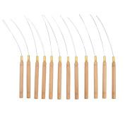 Pack of 12 Micro Ring Hair Extension Wooden Loop Needle Threader DIY Hook Tool