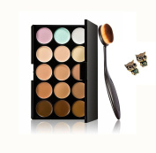 Ularma Professional Makeup Eye Shadow Palette Kit 1PC Foundation Brush+15 Colours Concealer+1 Pair earrings