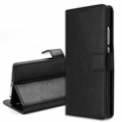 Huawei P9 Leather Case, Orlegol Flip Leather Wallet Phone Case Premium Wallet Case with Stand Flip Cover Magnetic Button Bumper Case for Huawei P9 - Black