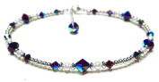Damali Handmade Sterling Silver Crystal Ankle Bracelet Simulated Birthtstone Garnet - January