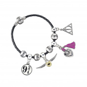 Harry Potter Black Leather Charm Bracelet with Charms in Gift Box. Bracelet available in choice of sizes