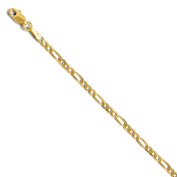 Black Bow Jewellery Company : 2.75 mm Flat Figaro Chain Bracelet & Anklet in 14K Yellow Gold, 10 Inch