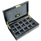 Dulwich Designs 'Heritage' Classic Premium Leather 15 Section Cufflink and Ring Box, Executive Black with Grey Suedette Lining