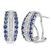 Naava 9 ct White Gold Multi Row Diamond and Sapphire Hoop Earrings