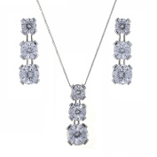 Ivy Gems 9ct White Gold 3ct Finest 100 Cut Cubic Zirconia Triple Drop Earrings and Pendant Set with Chain