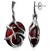 High Quality Cherry Amber Sterling Silver Perfect Oval Earrings