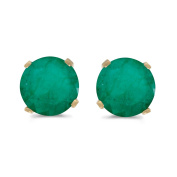 5 mm Natural Round Emerald Stud Earrings Set in 14k Yellow Gold