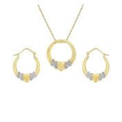 Carissima Gold 9ct Two Tone Heart Necklace and Earrings Set of 46cm