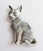 Cat Sitting Pewter Pin Badge - Hand Made in Cornwall