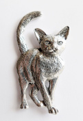 Cat Walking Pewter Pin Badge - Hand Made in Cornwall