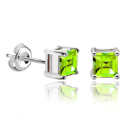 JewelryPalace Girl's Women Square Natural Garnet Citrine Amethyst Green Emerald Peridot Created Red Ruby Sapphire Blue Topaz 925 Sterling Silver Stud Earrings Set