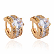 Yazilind Charming 18K Gold Plated Inlay Oval Clear Cubic Zirconia Small Hoop Earrings for Women