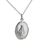 Silver 20x16mm Miraculous medal with rolo chain