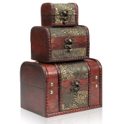 H & S® Set of 3 Wooden Vintage Treasure Chest Jewellery Storage Wood Box Case Organiser Ring Necklace Bracelet
