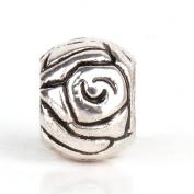 RUBYCA 50pcs Tibetan Silver Colour Spacer Rose Metal Beads fit Charm Bracelet DIY Jewellery Making