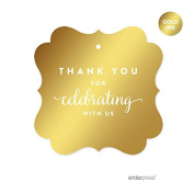 Andaz Press Fancy Frame Square Favour Gift Tags, Metallic Gold Ink, Thank You for Celebrating With Us, 24-Pack