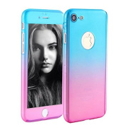 Auroralove iPhone SE Case iPhone 5/5s Case Full Body Front Back Slim Plastic Hard Case with Tempered Glass Screen Protector for iPhone 5/5/SE