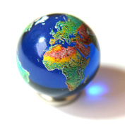 """22mm (0.9"""") Detailed Solid Glass Earth Globe Marble & Stainless Steel Stand - Cosmic World Planet Gaea Terra"""