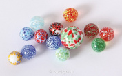 Speckled glass marbles, 13 pcs. in ball box