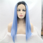 Silk straight dark roots ombre blue synthetic lace front wigs for women heat resistant wigs