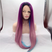 Heat Resistant Fibre Hair mermaid dark root ombre black purple pink to blue straight Synthetic lace front wig for women